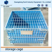Steel Foldable Rolling Wire Mesh Storage Cage