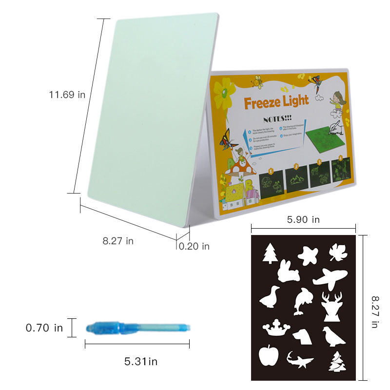 Hot PVC UV LED Pen Magic DIY Illuminated Glow In The Dark Art Drawing Pad Polar Light Luminescent Drawing Board Table For Kids