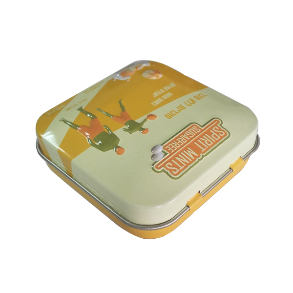 small tiny metal candy can candy tin box hinged lid