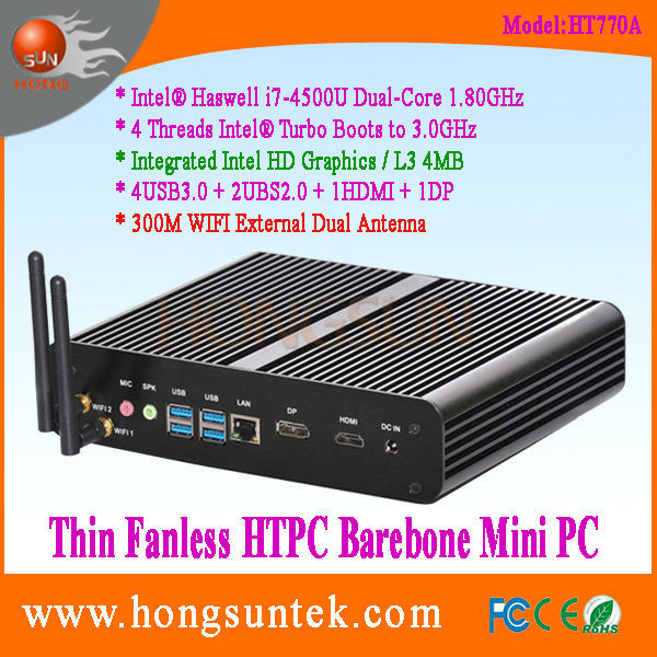 HT770A Intel Haswell i7-4500u 1.8GHz Dual Core with 4 Threads Intel Turbo Boots to 3.0GHz CPU Fanless Barebone Mini PC