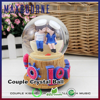Good quality custom Rotating Glass ball music box with led light inside