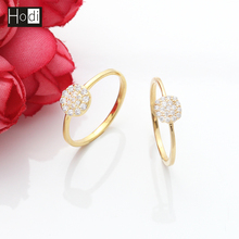 Good Quality Mircro Pave Setting Simple Designs Latest 14K Gold Plated Brass Jewelry Finger Rings for Women