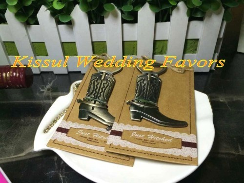 "Newest Rustic and Vintage Favors of ""Just Hitched"" Cowboy Boot Bottle Opener Wedding Gifts"
