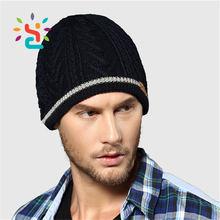 Personalized jacquard mens beanie hat tri blend black winter hat custom patterns leather label knit hats without brim