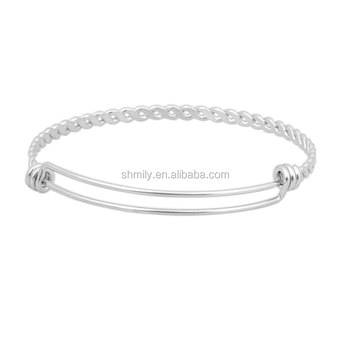 Ready Stock Newest Fashion 1.5mm Custom Charm Stainless Steel Adjustable Twisted Wire Bangle Bracelet SCB-A006