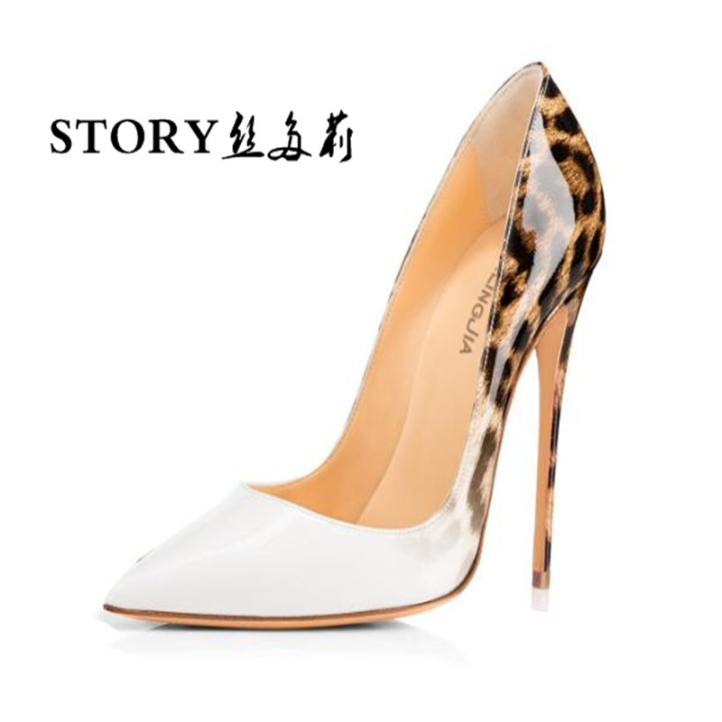 sexy women ladies lace up ol animal leopard print double color pu leather pointed toe stiletto nude shoes pumps thin high <strong>heels</strong>
