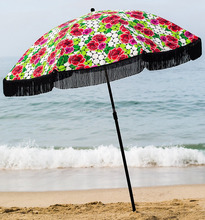 160g printed polyester outdoor beach parasol umbrella with fringe
