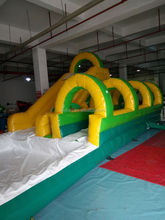 Cheap and exciting outdoor inflatable water slide with pool for kids and adults