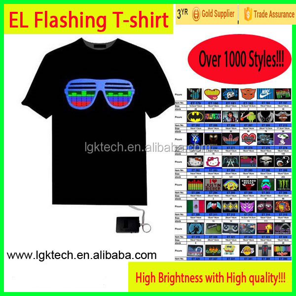 high qualtiy 100% cotton latest model el t shirt, baby led t-shirt, el t shirt blank