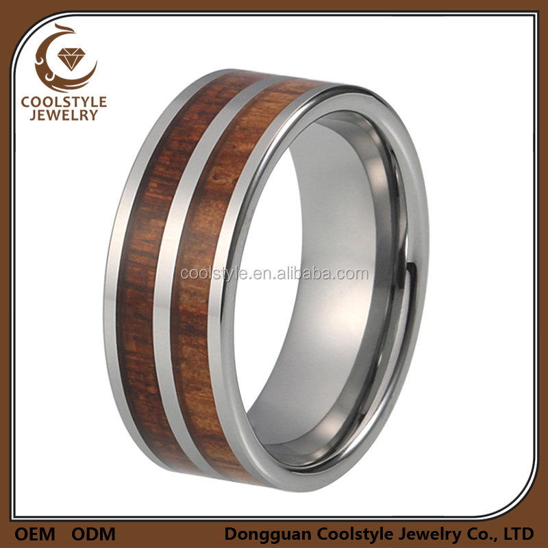 8mm pipe cut men women wood inlay tungsten wedding jewelry engagement ring