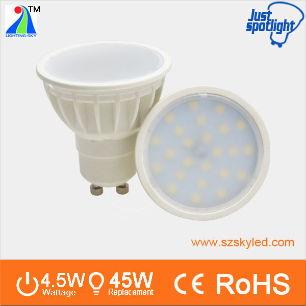 China Best 120 degree super spot light 220V 12V 3W 4.5W 5W CE ROHS MR16 GU10 SMD LED Spotlight