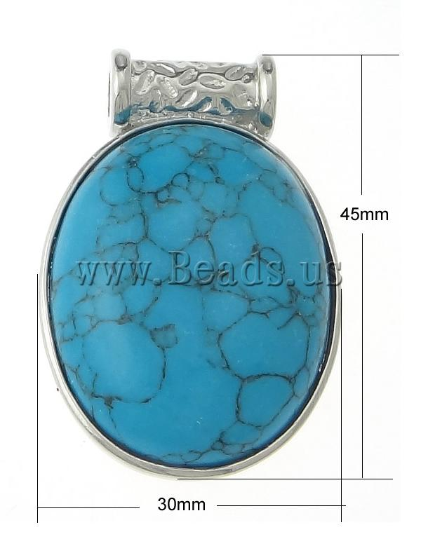 Free shipping!!!Turquoise Pendant,2013 designers for men, Dyed Turquoise, Flat Round, blue, 45x30x8mm, Hole:Approx 4mm