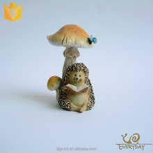 Miniature Fairy Garden And Terrarium Hedgehog Reading Book Under Mushroom Statue