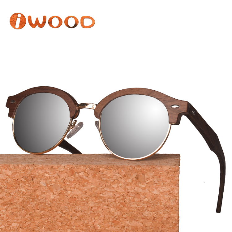 Classic Round Design Top Quality Custom Metal and Wood Framed Sunglasses 2018