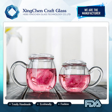 2017 hot sale high borosilicate personalize clear glass chinese tea cups