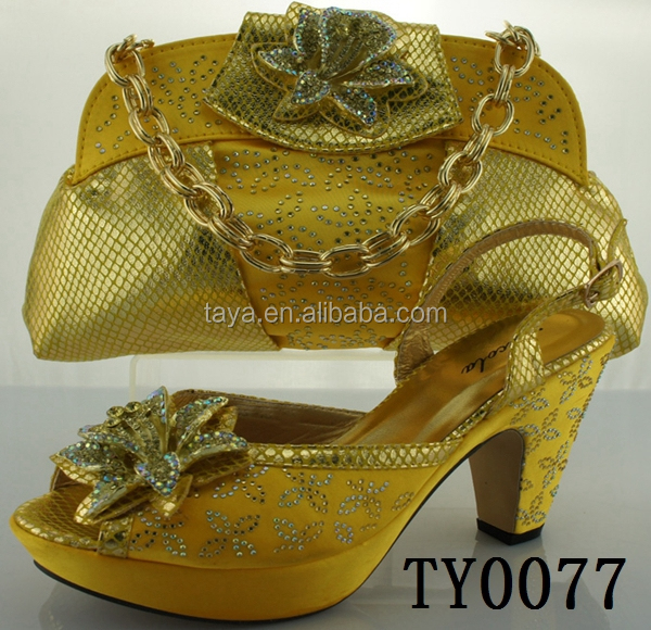 Low Price High Heels TY0077 Shoes women yellow african shoes and bags to match