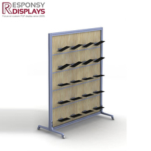 POP display wood and metal floor shoe display stand for stores