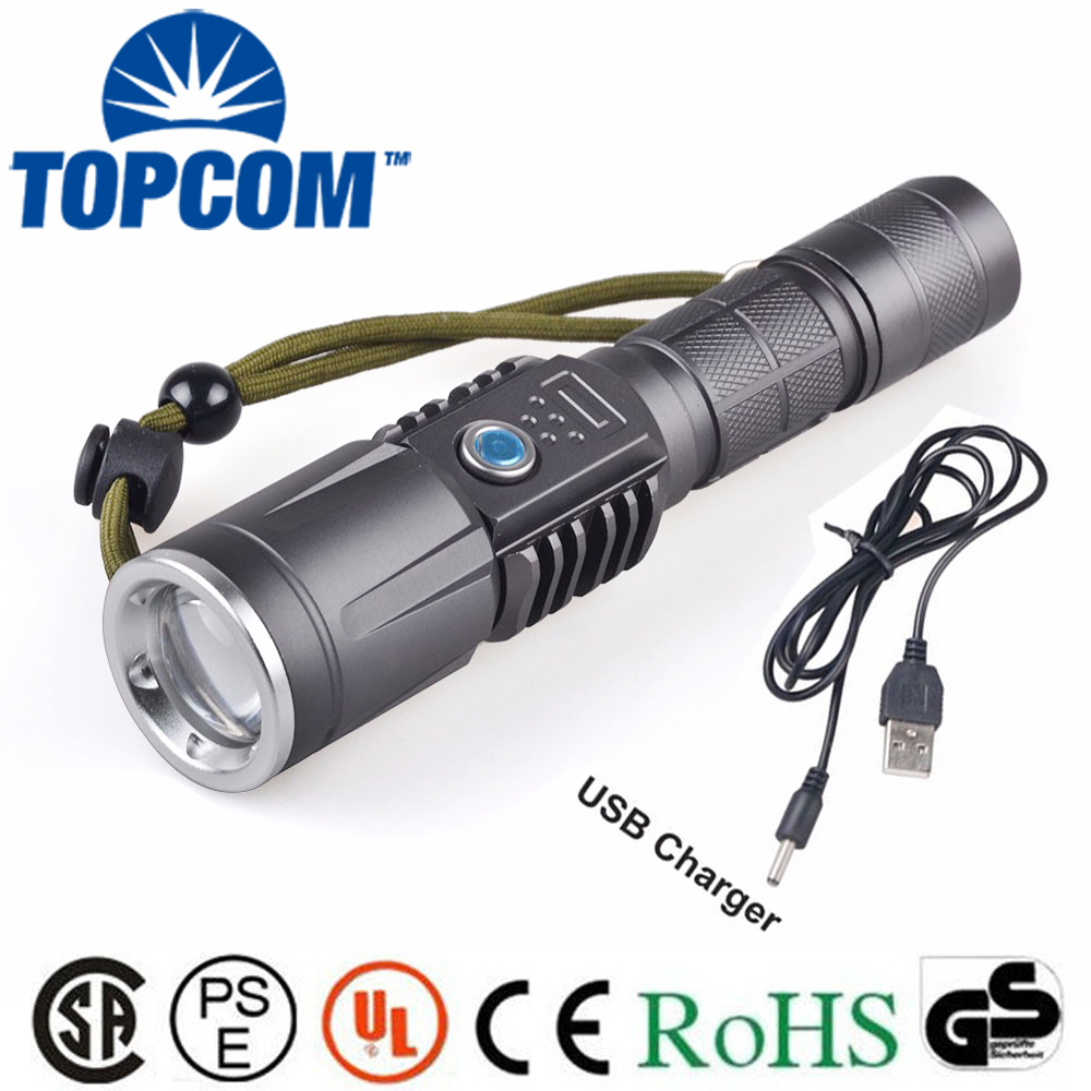 Zoom USB Rechargeable LED Flashlight For Long Use Time