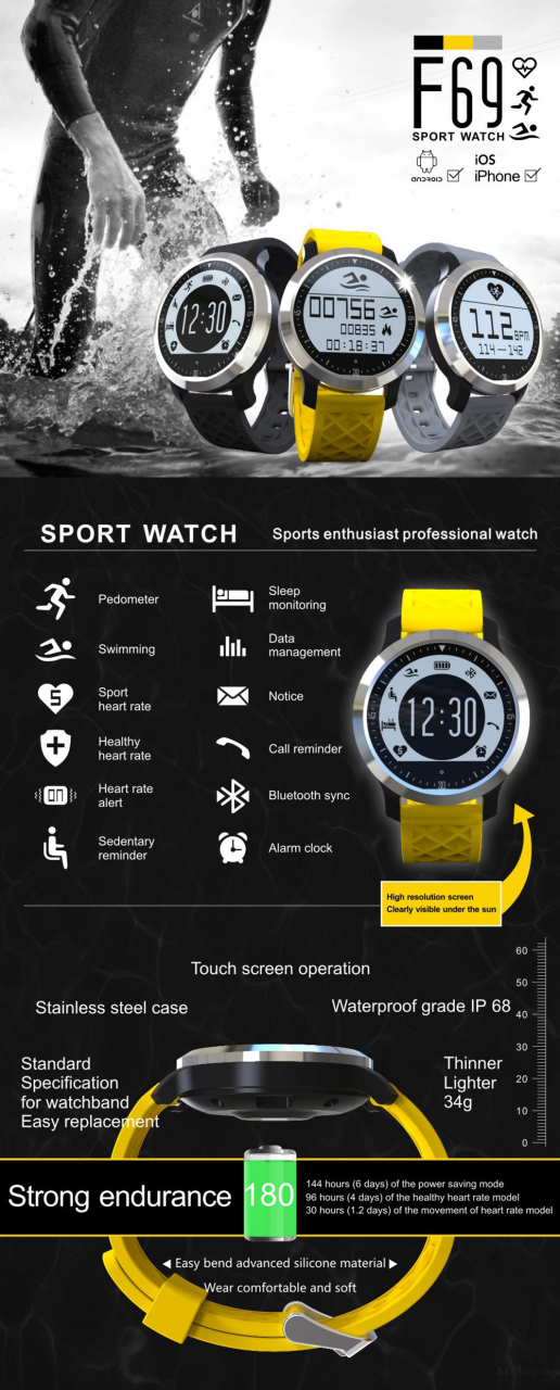 2017 F69 waterproof electronic smartwatch for swimmer china factory q&q smart watch
