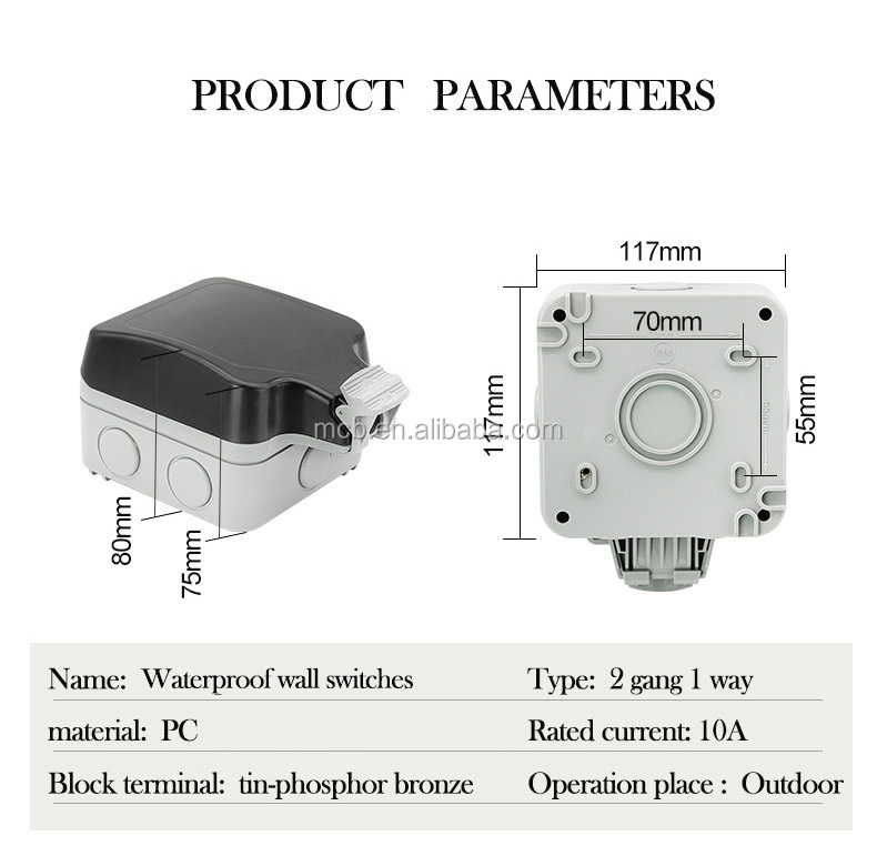MPS22 weatherproof Switches waterproof box IP66 outdoors switch