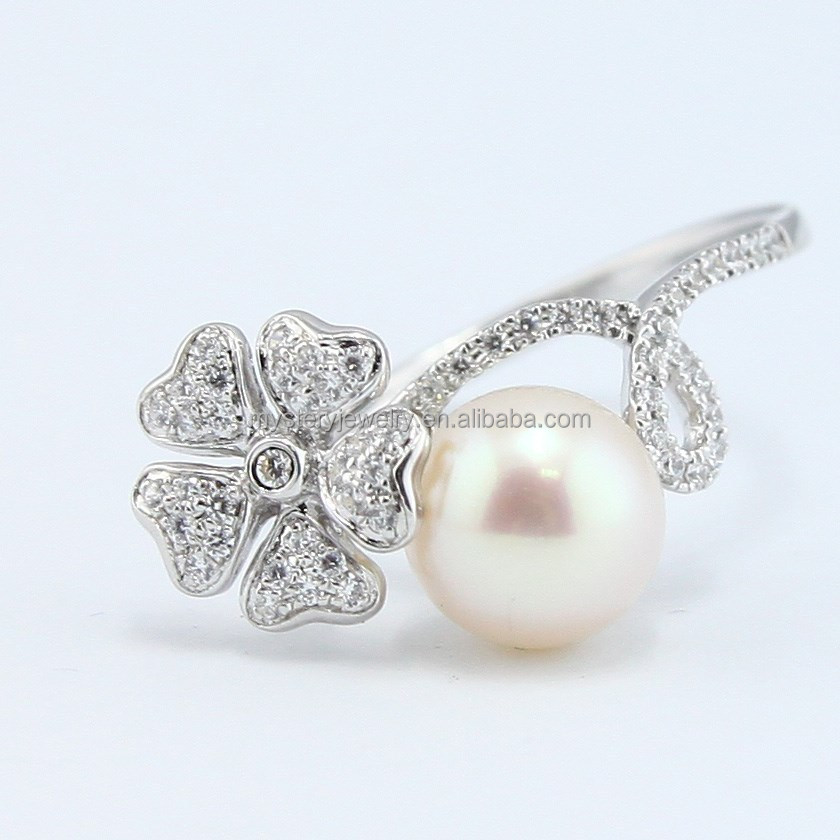 Mystery 2015 hot sale pearl with cz sterling silver ring jewelry