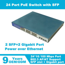 IEEE802.3af/at 400w power supply 24 port poe switch with 2 giga sfp/rj45 uplink