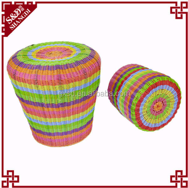 S&D handmade colorful rattan wicker outdoor bar stools