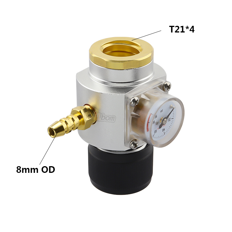 "5/16"" Gas Line Assembly - 0-90 PSI  CO2 Mini Gas Regulator T21*4 - Draft Beer Dispensing Cornelius Corny Keg"
