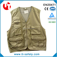 sleeveless multi pockets men's work vest