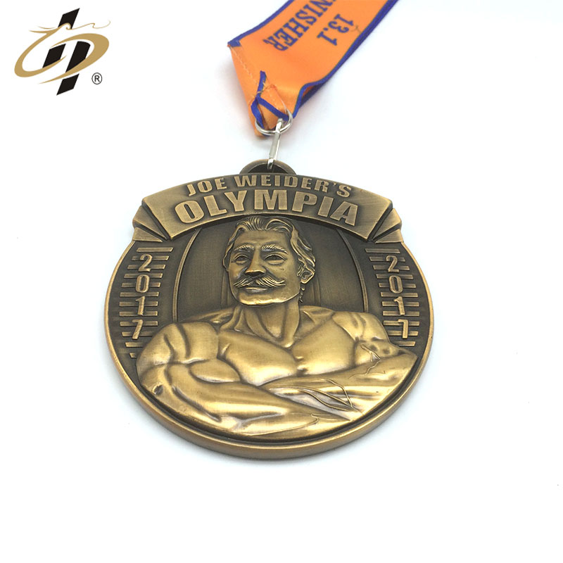 3D Hercules custom finisher antique gold metal bodybuilding medal