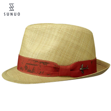 Promotional One Size Fits All Natural Color Unisex Fedora Straw Hats
