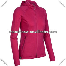 custom made women's ruby blank full zipper hooded icebreaker wool jackets &coats