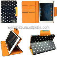 "Cute wallet Leather Case for iPad mini with Card Slots and ""star"" Design"