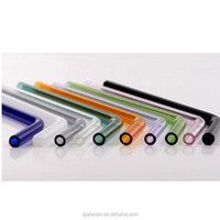 Bent Glass Straw, borosilicate glass drinking straw, coloful