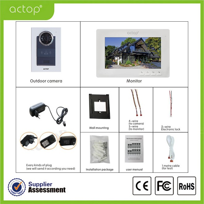 Shenzhen ACTOP handfree 7inch villa wire color video doorphone