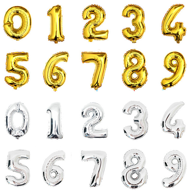 1PC Large 33cm Gold Silver Number Balloon Aluminum Foil Helium Balloons Celebrate For Birthday Wedding Party Decoration 11-376
