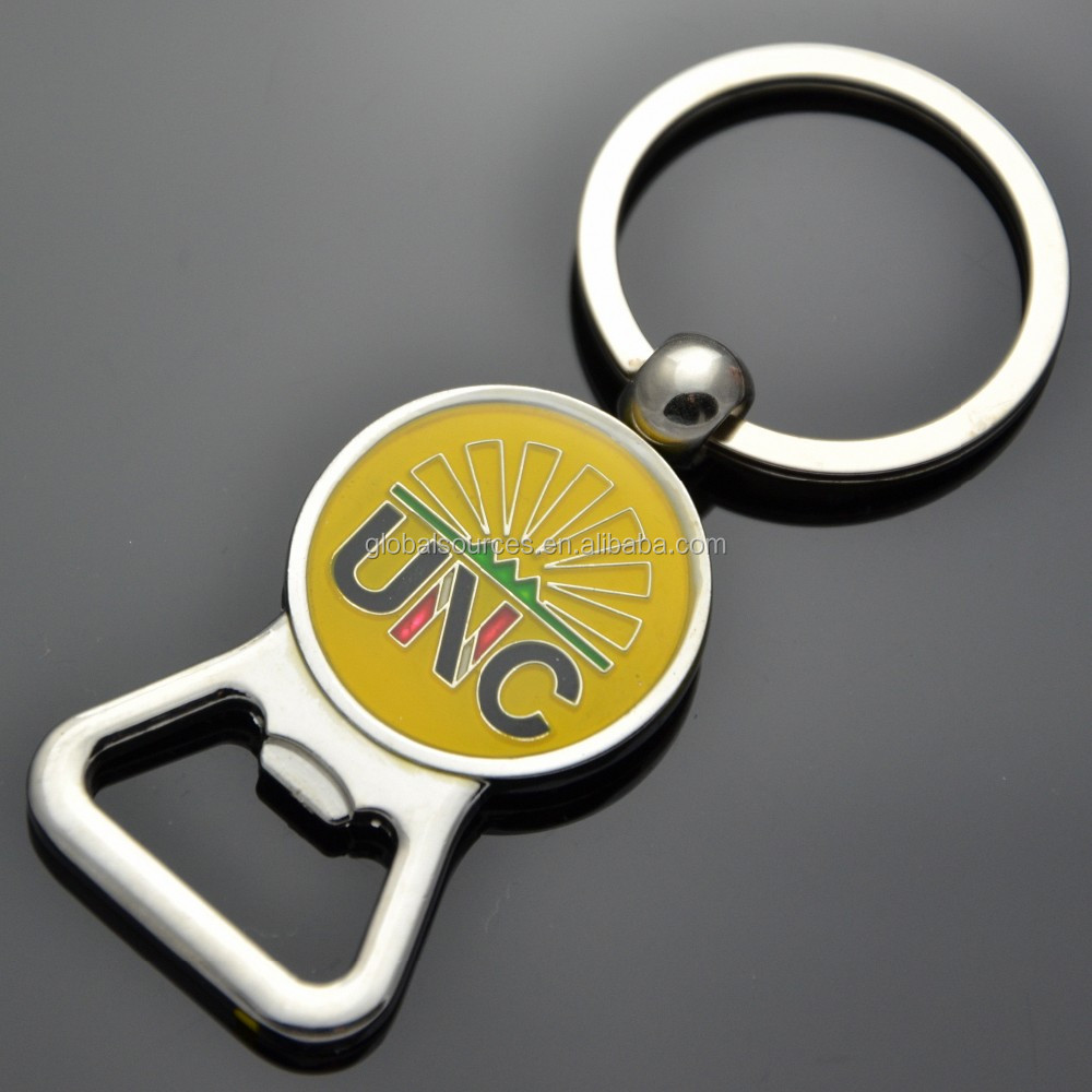 custom metal bottle opener key chain with epoxy logo