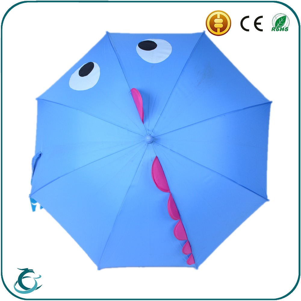 Cute 3D kid blue animal windproof umbrella with plastic crook handle