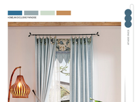lastest design blue polyester blackout window curtains pleated blinds online