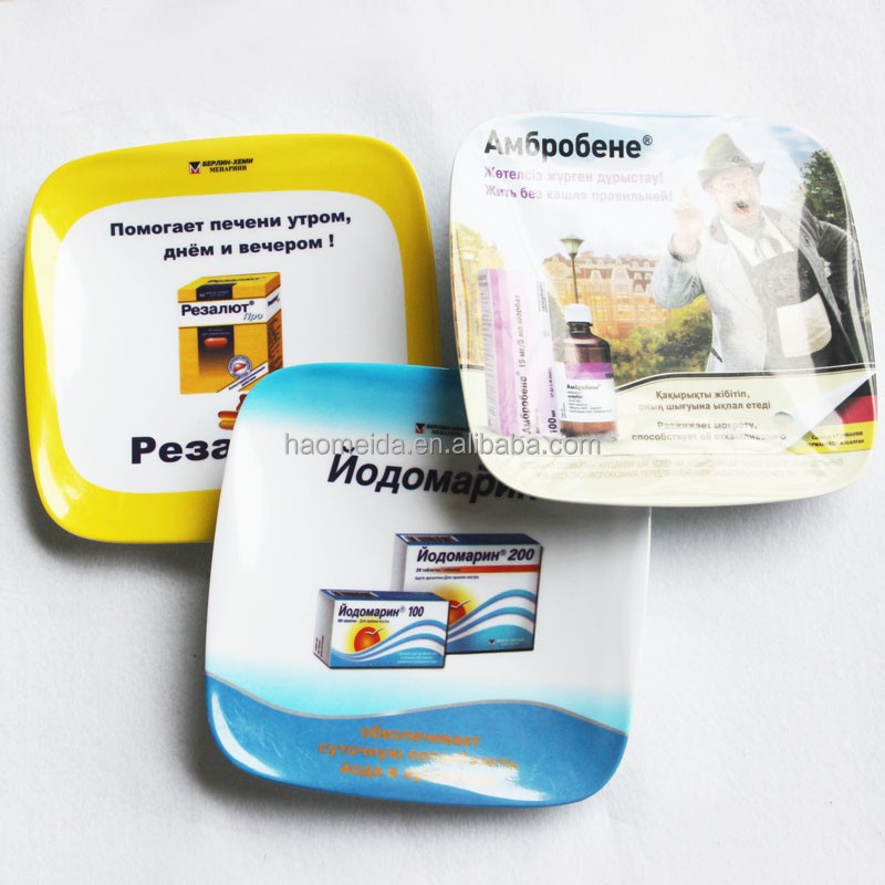 18 x 18cm custom advertising square non-skid plastic money tray