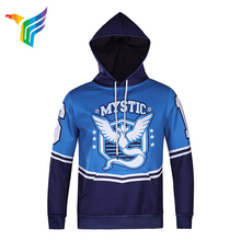 China design custom sports polyester sublimation printing blue hoodie for men