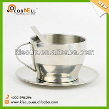 6oz stainless steel coffee tea cup and saucer set