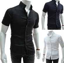 2016 Free Shipping High Quality 100% Cotton Business Men's Shirts Wholesale Fashion Slim Fit Short Sleeve Summer Men Dress Shirt