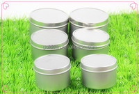 4 oz metal tin can/ candle tins with clear top on tin lid