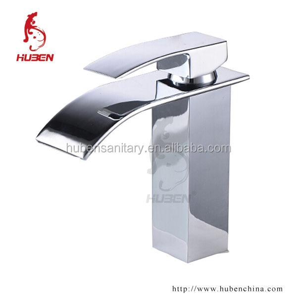 China supplier brass chromed single handle bathroom basin waterfall faucet