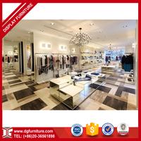 Fashion wood clothes shop counter table design