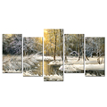 Winter Scenery Canvas Prints Little Cabin in the Wood Drawing Canvas Printing Snowy Landscape Canvas Painting Wholesale 5-Panel