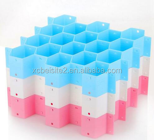 cy272 Cute Pink Plastic Honeycomb Shape Cellular Sorting Grid Drawer Clothing Organizer Storage Box Container for Clothes