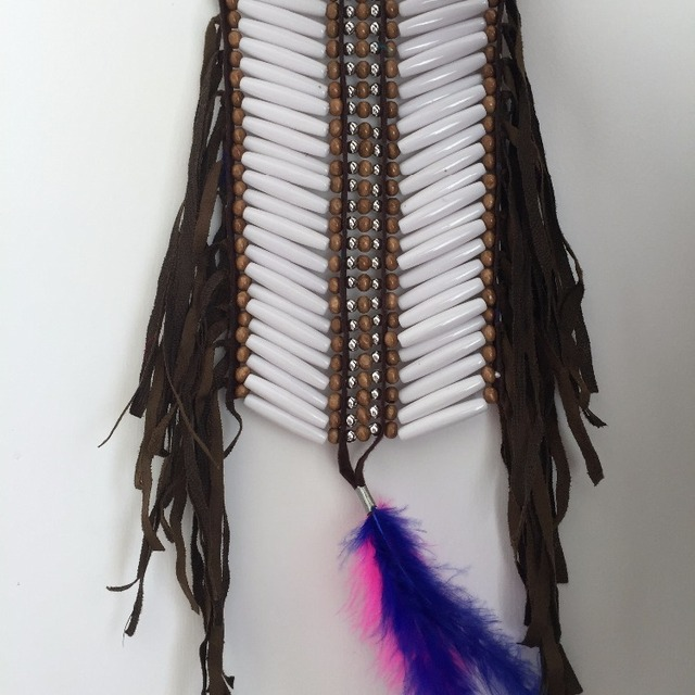 New design beaded feather necklace