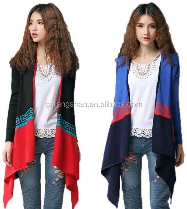 Alibaba guangzhou clothing manufacturers color combination sweater cardigan women long wraps cashmere poncho